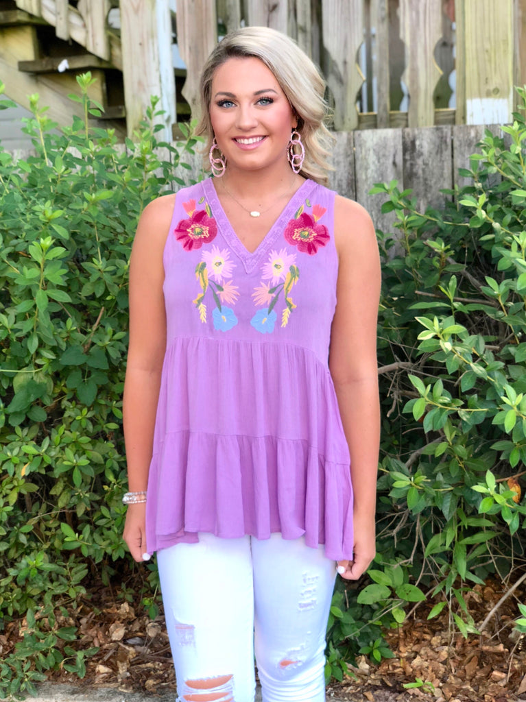 V-Neck Floral Embroidered Sleeveless Top: Light Purple
