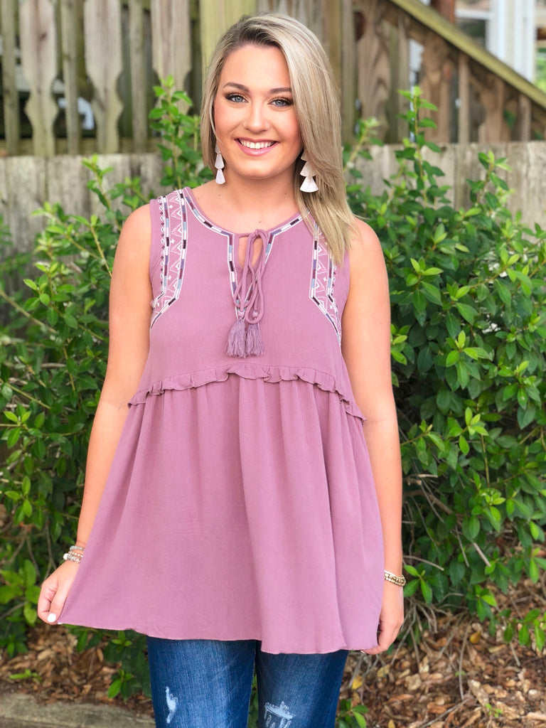 Sleeveless Embroidered Top with Tie Detail: Mauve