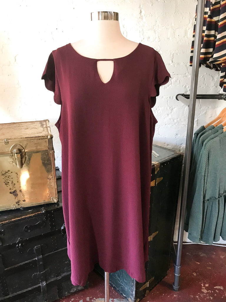 Sheath Dress with Scalloped Sleeve Detail: Maroon