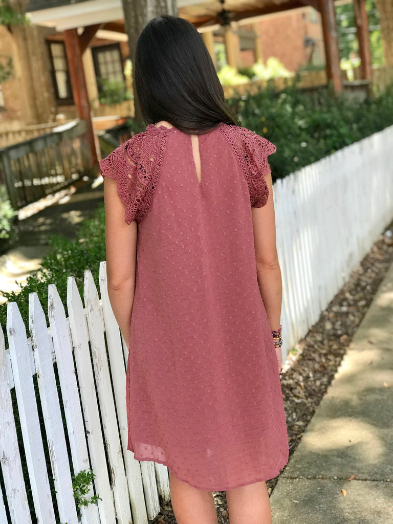 Sheer Polka Dot Dress with Crochet Yoke: Dark Rose