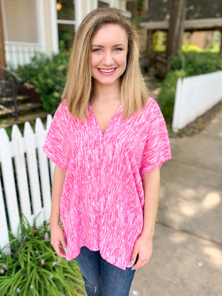 Favorite Short Sleeve Blouse: Pink/Lilac