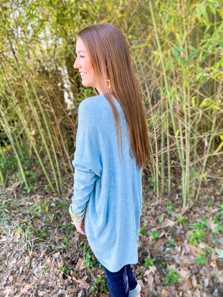 V-Neck Tunic Sweater with Seam Detail: Sky