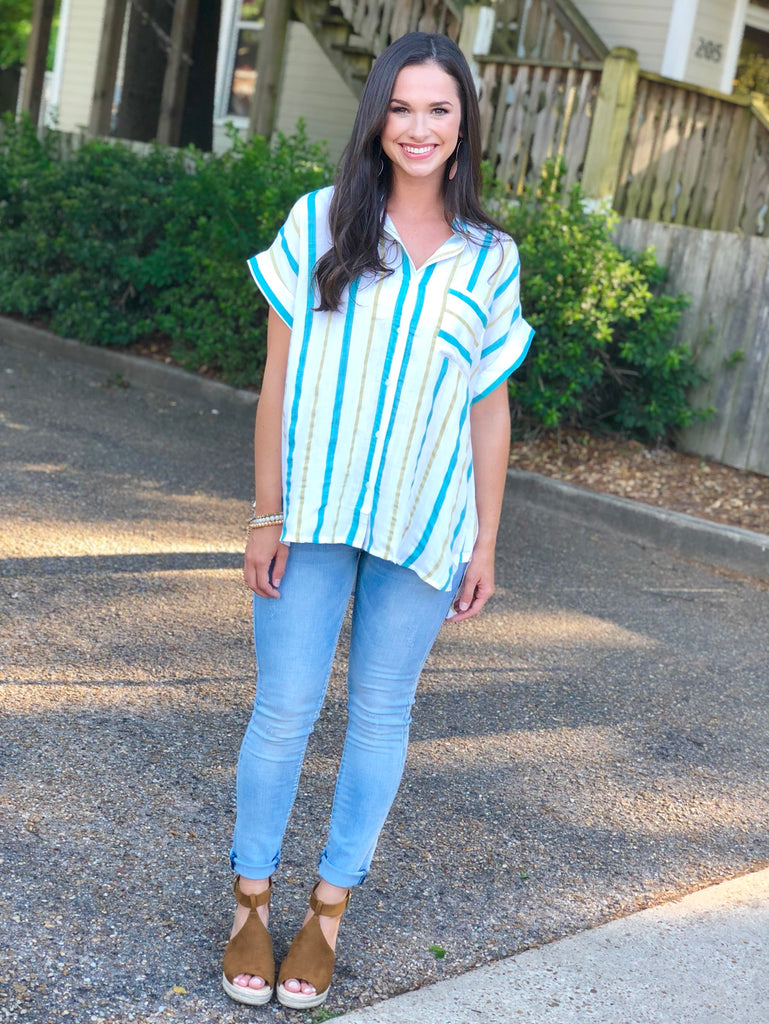 Short Sleeve Woven Striped Button Up: Jade