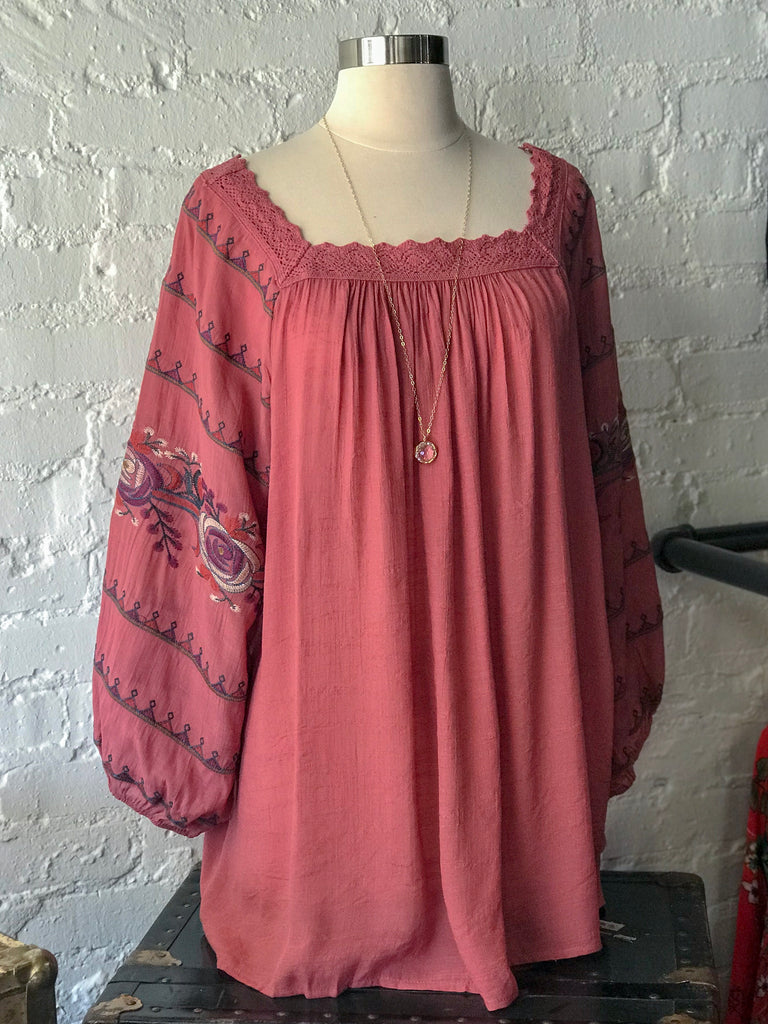 Ruffle Sleeve Embroidered Top: Marsala