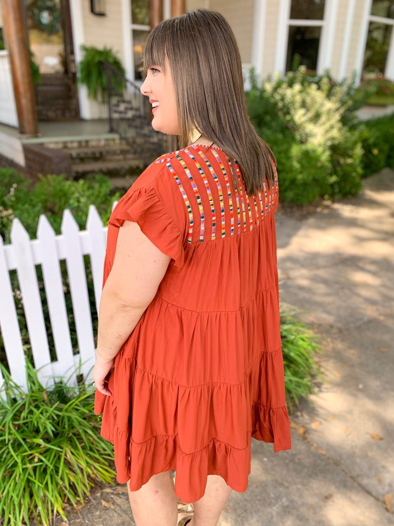 Tiered Dress with Embroidered Neckline: Rust