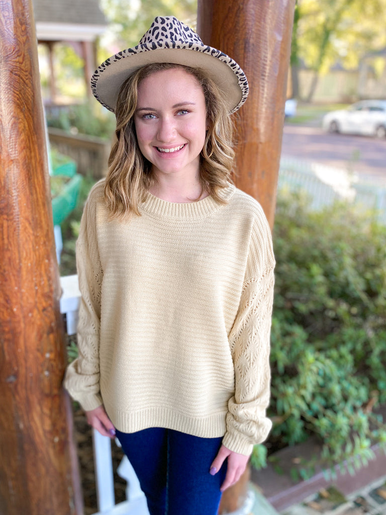 Ribbed Pullover Sweater: Cream
