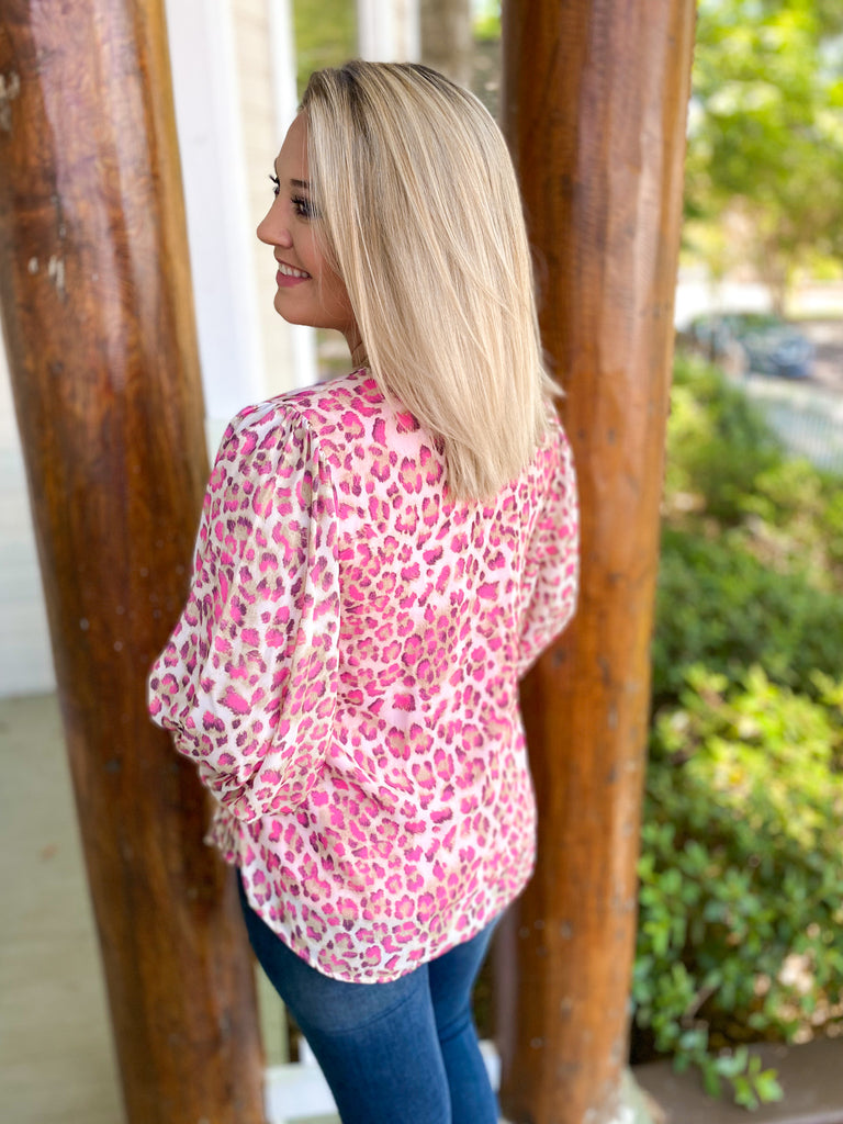 Puff Sleeve Animal Print Blouse