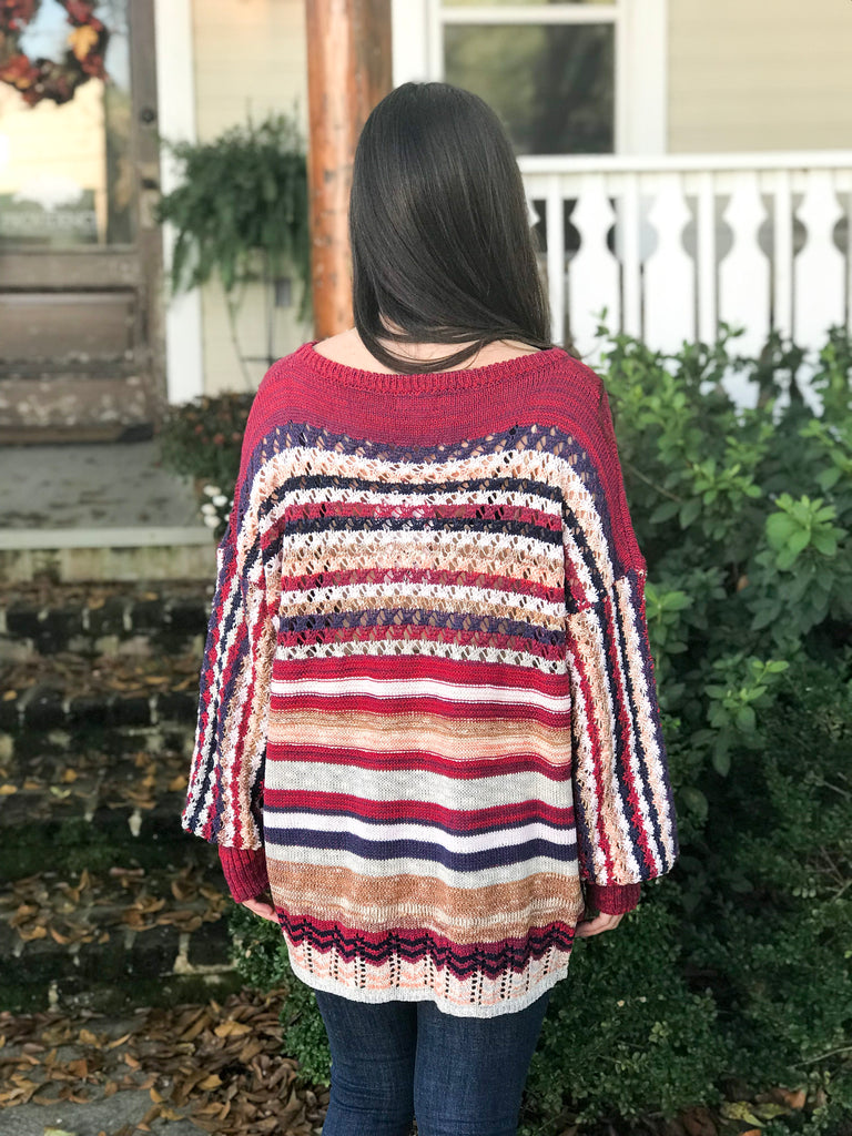 Open Weave Striped Pullover: Red