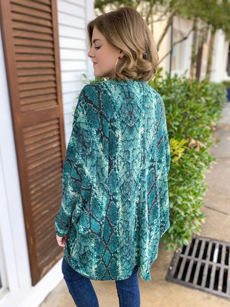Peace Love Cake Cabin Fever Cardigan: Teal Snake