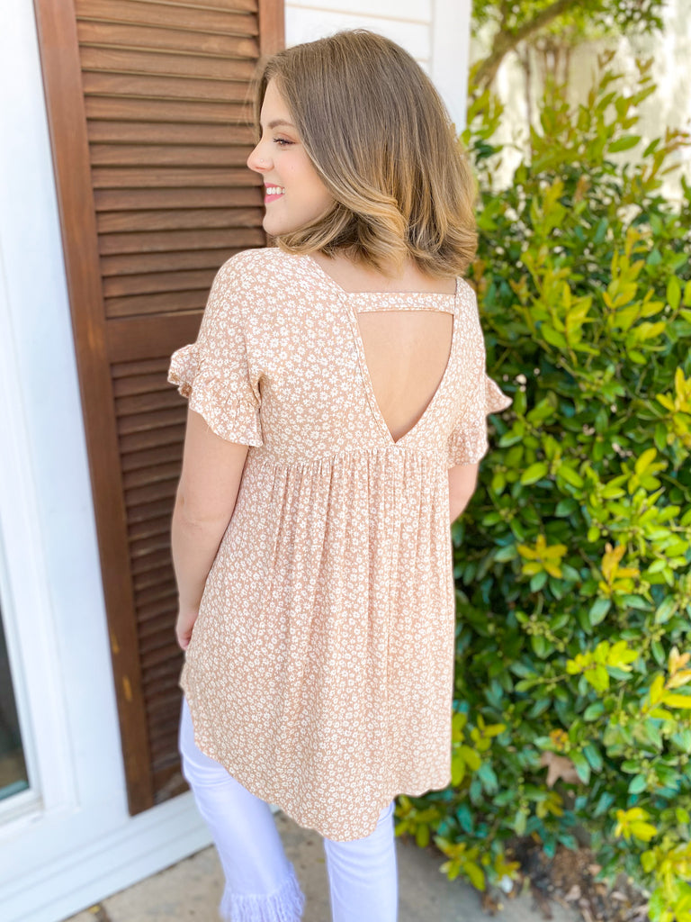 Tiny Floral Print Tunic Top