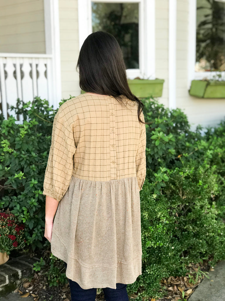 Plaid Babydoll Top with Front Detail: Mustard