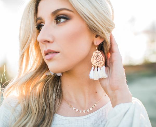 Love Poppy Ornate Gold Plate with Tassel Earrings