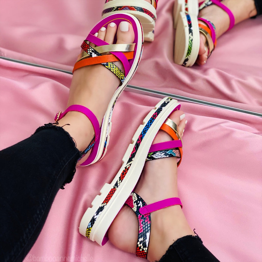 Multi Color Criss Cross Strap Sandal: Pink