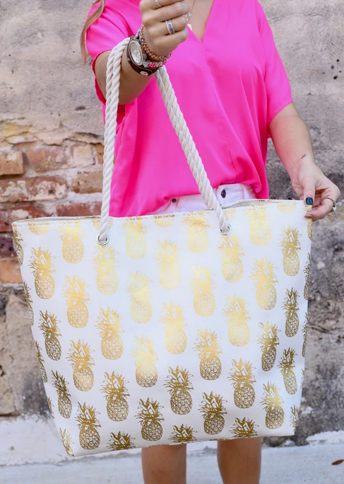 Foil Pineapple Tote Bag with Rope Handles