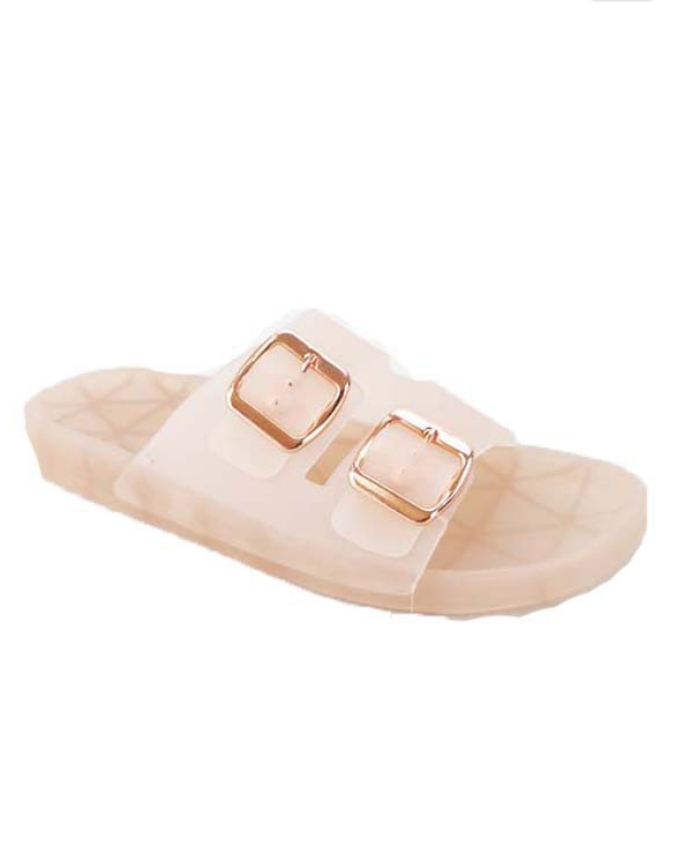 Double Buckle Jelly Sandal: Nude