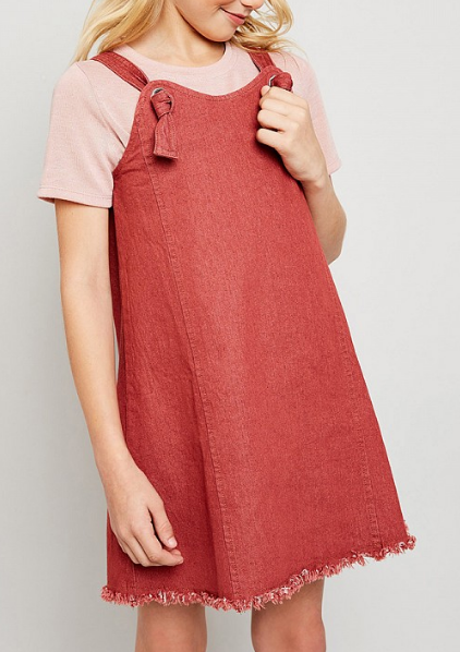 Tween Denim Overall Jumper: Marsala