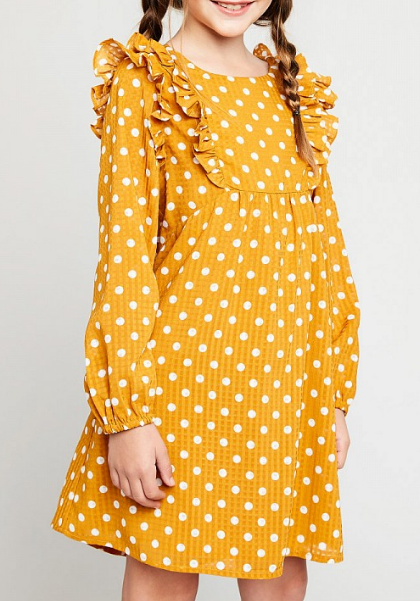 Tween Polka Dot Ruffle Sleeve Dress: Honey