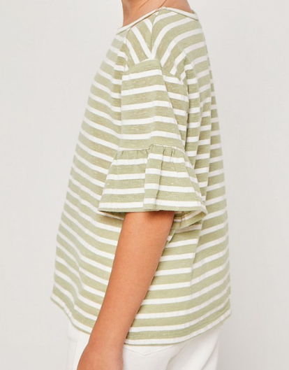 Tween Striped Ruffle Sleeve Top: Sage