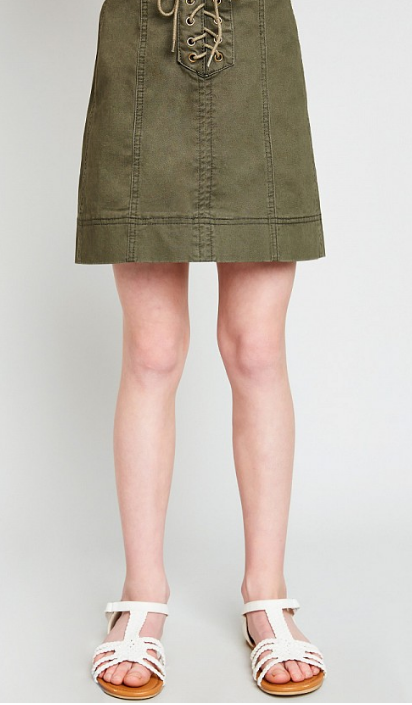 Tween Front Lace Up Skirt: Army