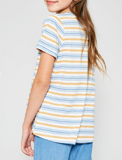 Tween Stripe V-Neck Pocket Tee: Blue