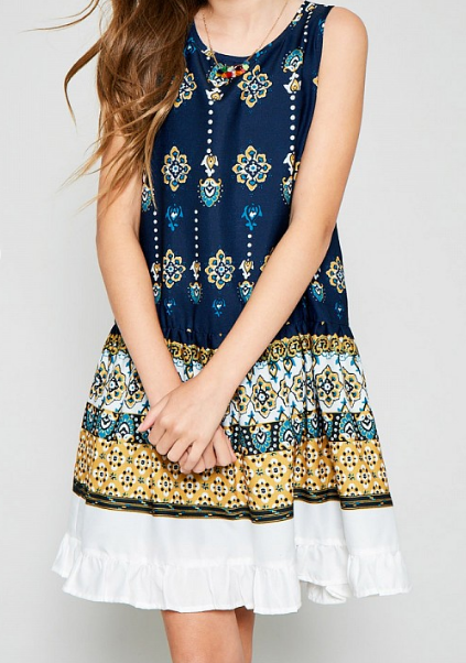 Tween Ruffle Border Print Tank Dress: Indigo