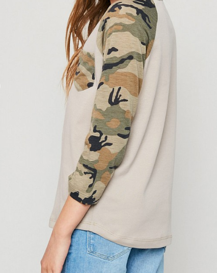 Tween Camo Pocket Baseball Tee: Taupe