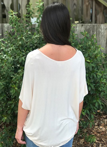 V-neck Knit Front Surplice Top: Cream