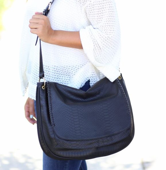 Maisy Messenger Bag with Whipstitch Flap: Black Snake