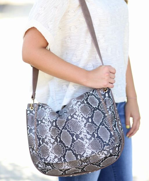 Maisy Messenger Bag with Whipstitch Flap: Taupe Snake