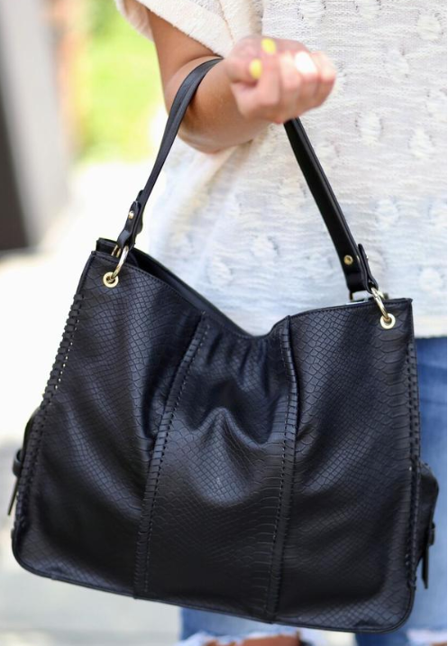 Ryleigh Hobo Bag with Whipstitch Detail: Snake Black
