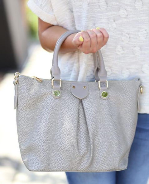 Mitzi Mid-Size Tote with Pleat: Snake Taupe