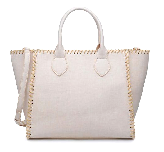 Lyra Gold Detail Tote: Cream