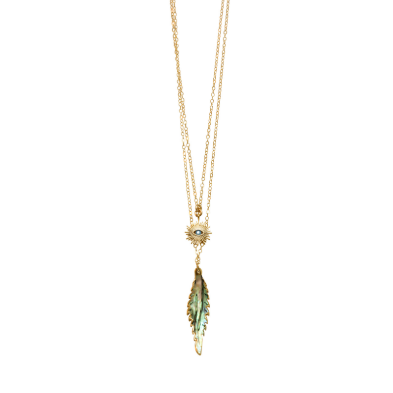 Love Poppy Double Layer Eye + Feather Necklace