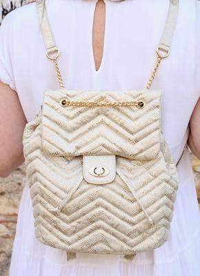 Parvey Quilted Backpack: Snake Champagne