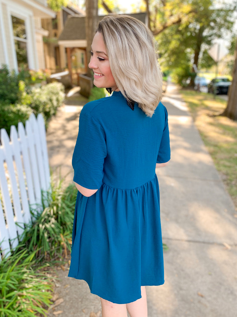 Solid Dress with Gathered Waist: Teal