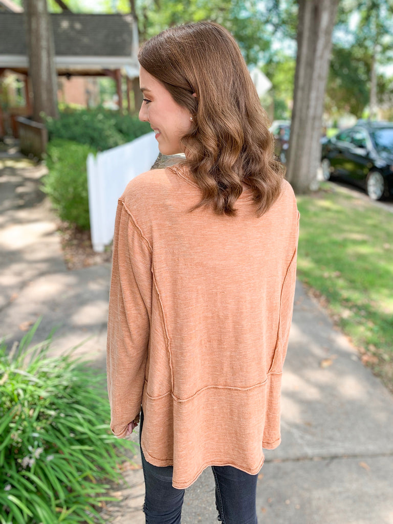 Z Supply Airy Slub Long Sleeve Top: Warm Wood