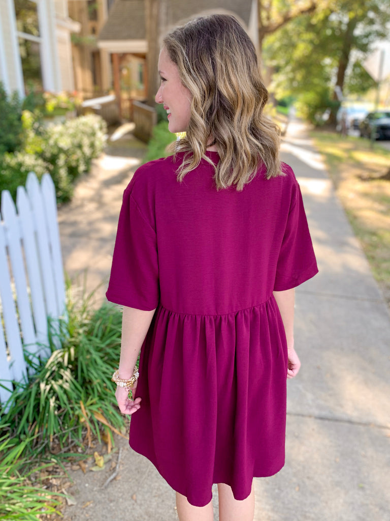 Solid Dress with Gathered Waist: Wine
