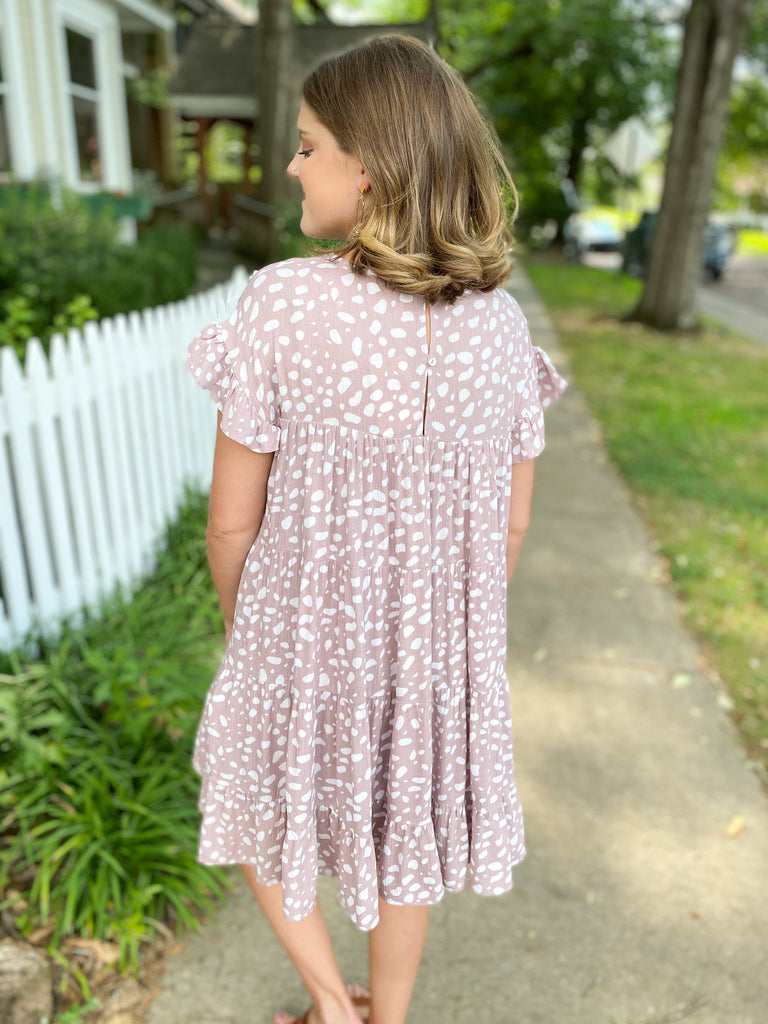 Spotted Tiered Dress: Mauve