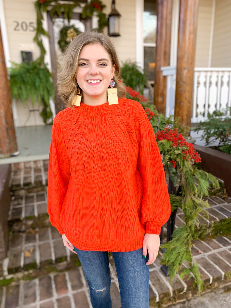 Mock Neck Knit Pullover Sweater: Tomato Red
