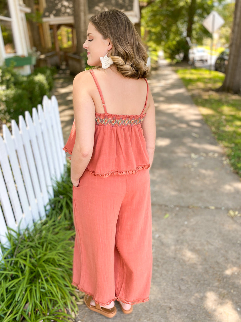 Layered Ruffle Jumpsuit with Embroidery
