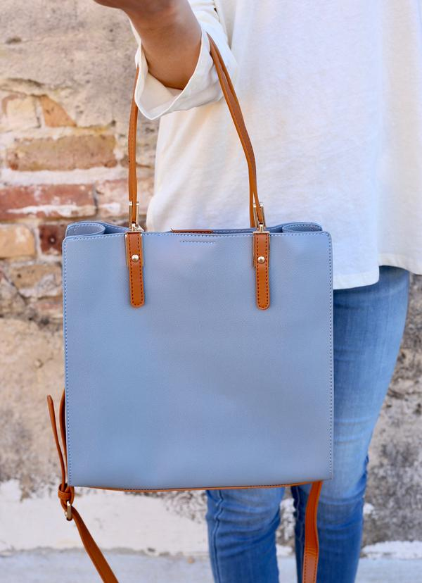 Sibella Bag with Camel Accents: Light Blue