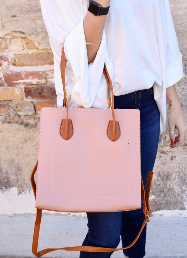 Sibella Bag with Camel Accents: Blush