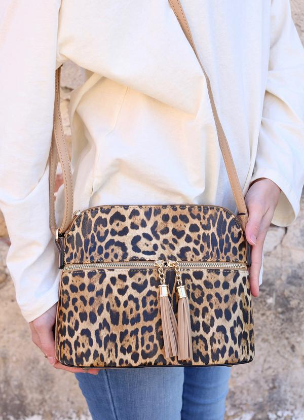 Riggins Leopard Print Crossbody: Brown
