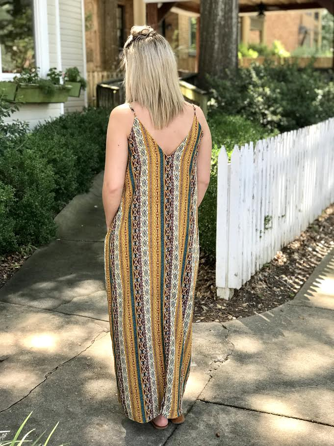 V-Neck Print Spaghetti Strap Maxi Dress: Mustard