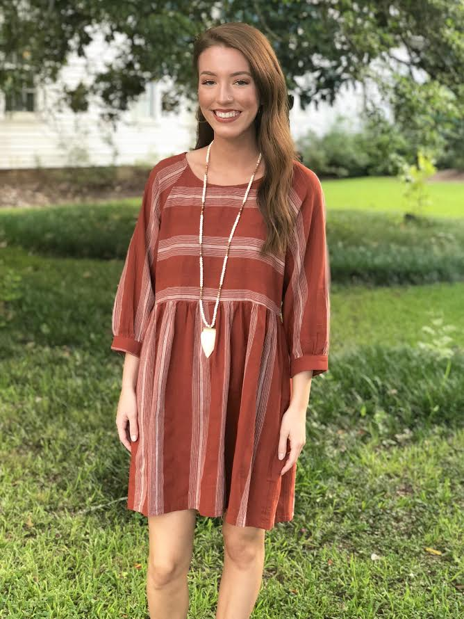 Striped Dress with Gathered Waistline: Rust
