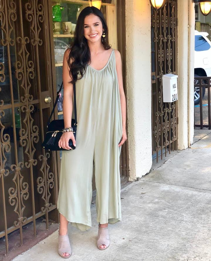 Sleeveless Gauze Jumpsuit: Sage