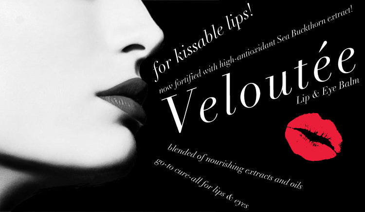 veloutee natural lip balm with womans lips