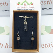 Load image into Gallery viewer, Black Tourmaline earring and pendant set