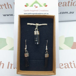 Black Tourmaline earring and pendant set