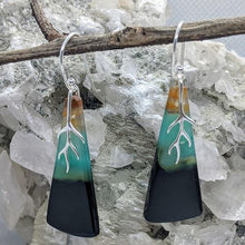 Load image into Gallery viewer, Blue Opalised Wood Earrings